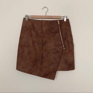 Asymmetrical Faux Leather Skirt